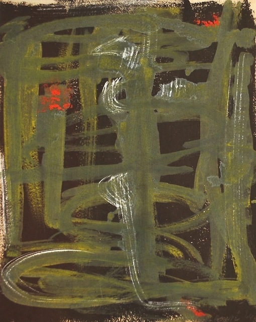 Dusti Bongé, 'Untitled (Green Lines on Brown Ground)', 1966, Amanda Winstead Fine Art