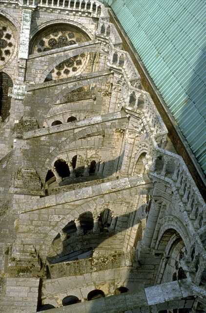 'Chartres Cathedral: exterior, detail of flying buttresses on N. side (view from N. tower)', ca. early 13th century, Allan Kohl