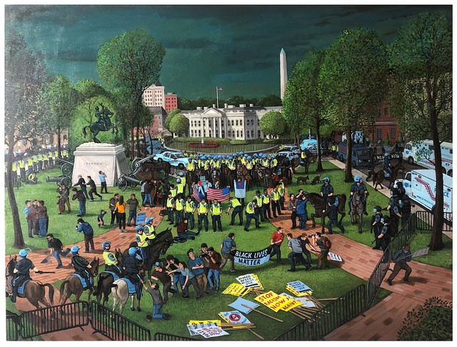 Sandow Birk, 'Rally in Lafayette Square (Aug. 12, 2018)', 2019, Catharine Clark Gallery