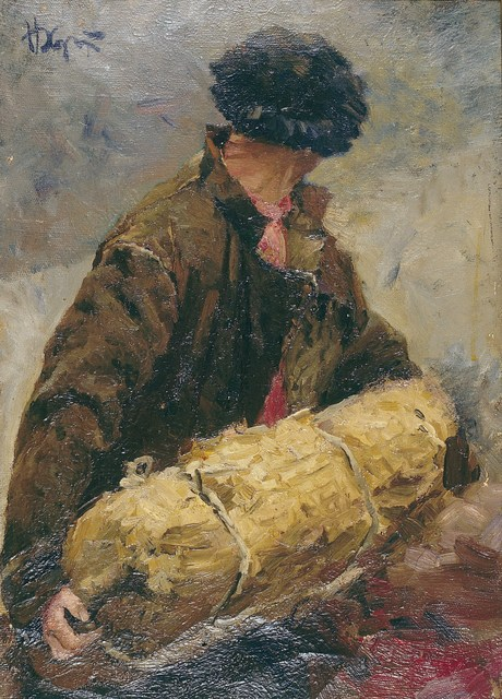 ", 'Sketch ""Fisherman"",' 1952, Surikov Foundation"