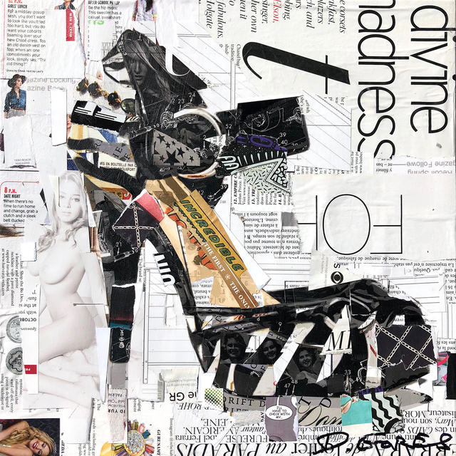 """Derek Gores, '""""The One, The Only"""" Collage of  high heel shoe with black and white', 2019, Eisenhauer Gallery"""
