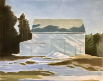 White barn, winter