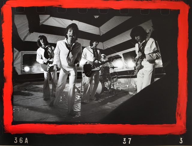 """Michael Putland, 'The Rolling Stones during """"It's only Rock 'n' Roll"""" video shoot  (With additional markings by Michael Putland)', 1974, ElliottHalls"""