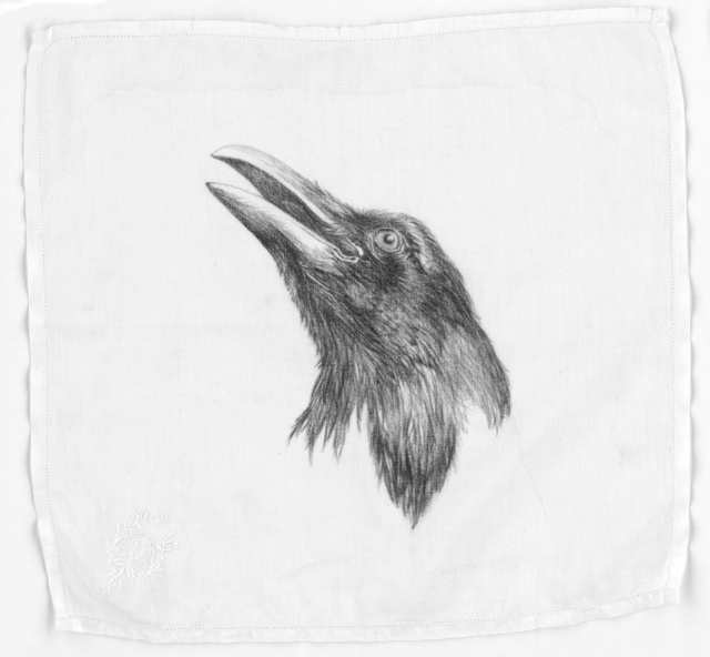 Constance Edwards Scopelitis, 'God Is In Clean Laundry: Raven', 2019, Drawing, Collage or other Work on Paper, Carbon on vintage handkerchief, Garvey | Simon