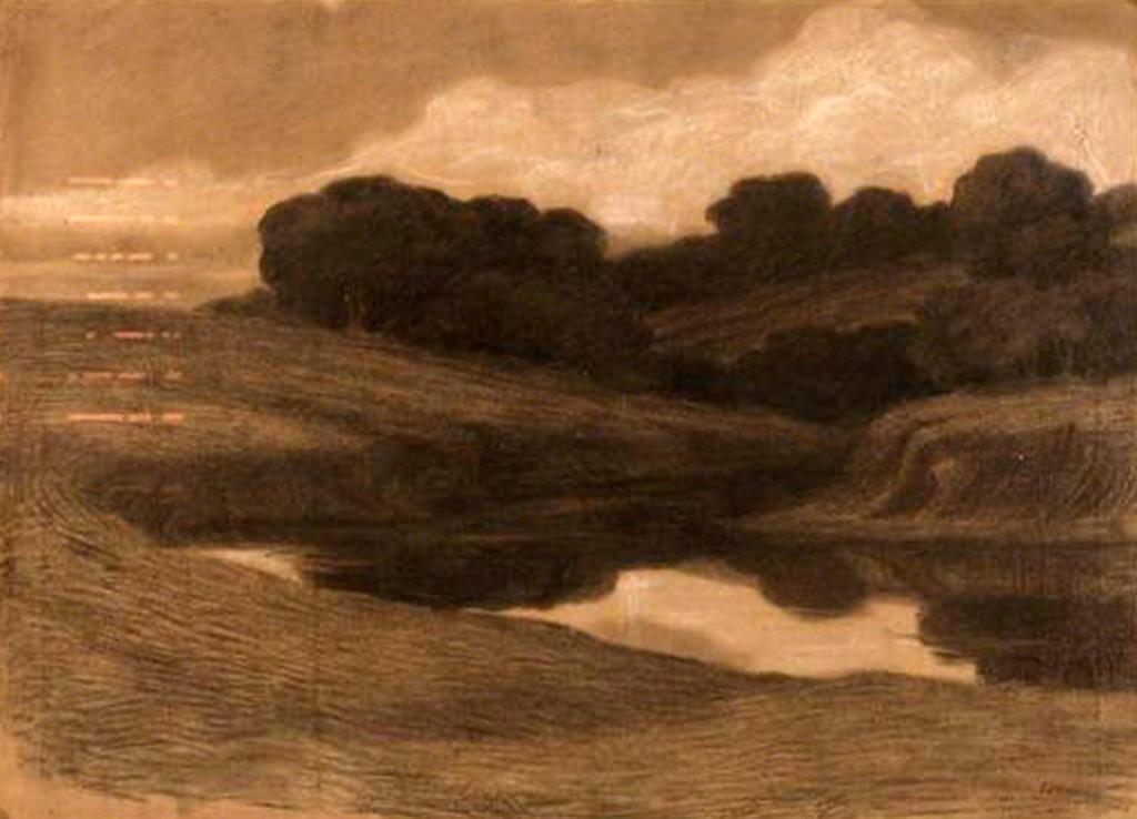 Giuseppe Pelizza da Volpedo 'Landscape', mixed media, 46x65, signed