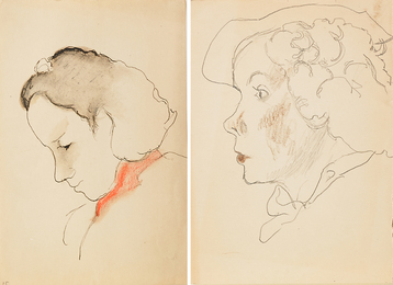 Two Works of Art: Untitled (Woman Looking Down), Untitled (Profile of a Woman in a Hat)