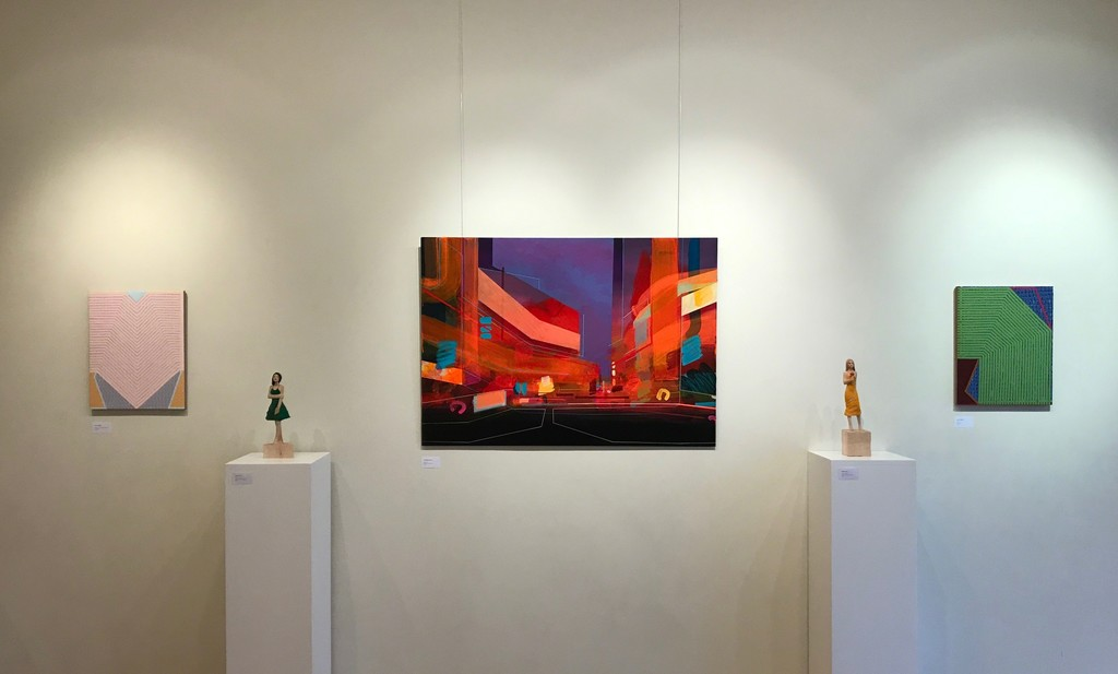 Paintings by Helen G Blake and Christopher Farrell, sculpture Michael Pickl.