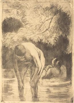 Camille Pissarro, 'Two Women Bathing (Les deux baigneuses)', 1895, National Gallery of Art, Washington, D.C.