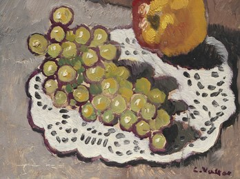 Nature morte à la pomme et raisins