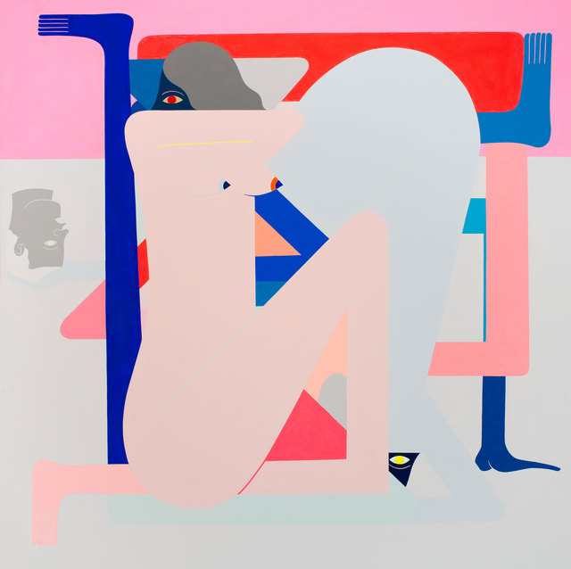 , 'Cold Shoulder Painting. (Pink) Blue Figure,' 2016, Gastman