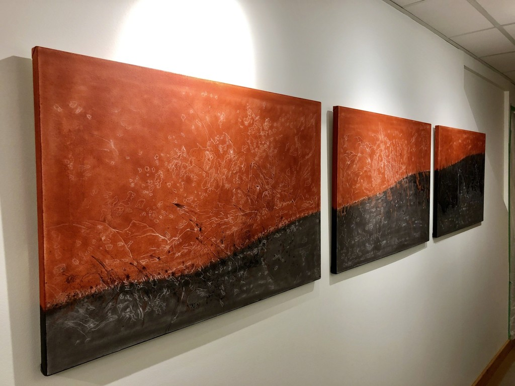 """""""Waves"""" by Austrian artist, Bernhard Cociancig. This 2018 triptych came to life during Bernhard's stay at the Artist In Residence Toronto (AIR Toronto)."""