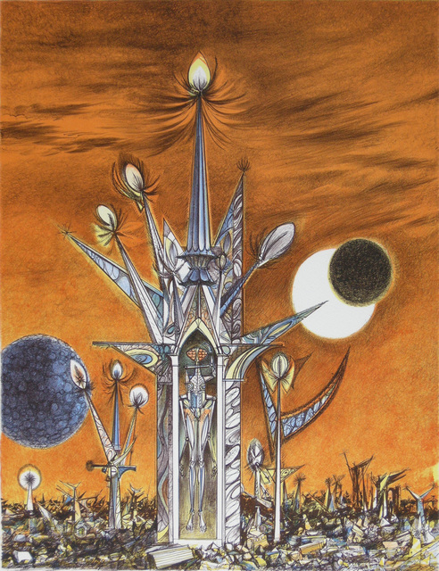 Joseph A. Mugnaini, 'A Tower on Mars, from the portfolio Ten Views of the Moon', 1981, Print, Color lithograph, from the edition of 150, printed by Lynston Kistler, Laguna Art Museum Benefit Auction