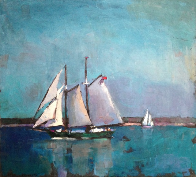 ", '""Passing Schooners"" oil painting of sailboats with teal water and sky,' 2019, Eisenhauer Gallery"