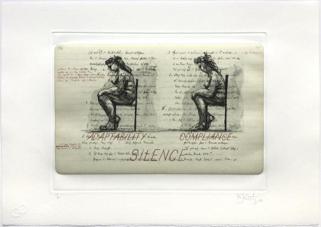 William Kentridge, 'Sleeping on Glass (Adaptability Compliance Silence)', 1999, Jim Kempner Fine Art