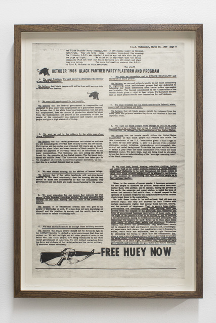 , 'We want freedom [October 1966 Black Panther Party Platform and Program],' 2018, Rubber Factory