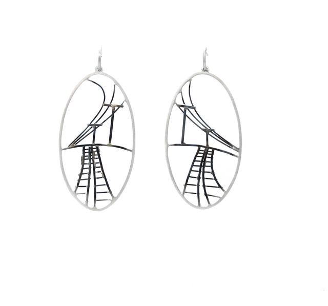 , 'Large Oval Train Track Earrings,' , Facèré Jewelry Art Gallery