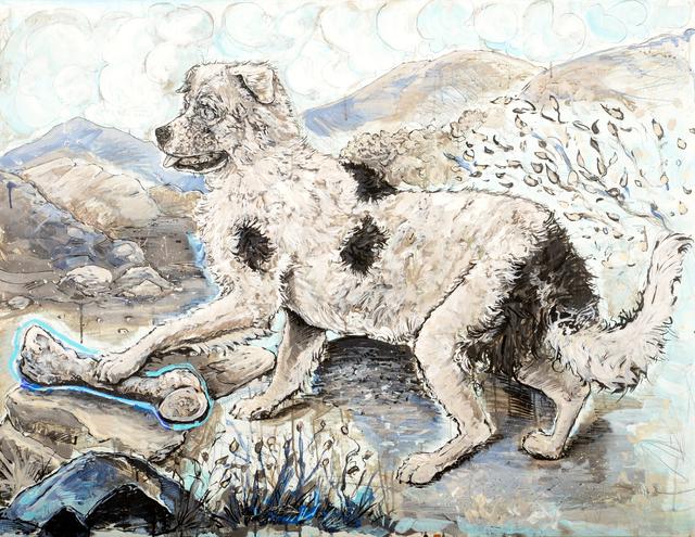 Chaz John, 'Rez Dog Honoring a Buffalo Shin', 2018, Ellsworth Gallery