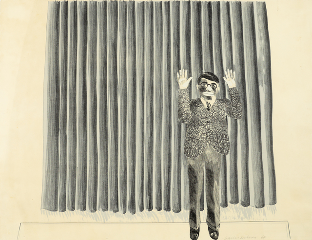 David Hockney, 'Figure by curtain', 1964, Bernard Jacobson Gallery
