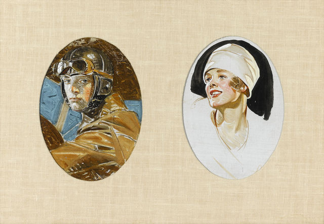 , 'Aviator and Woman in a White Hat,' 20th century, M.S. Rau Antiques