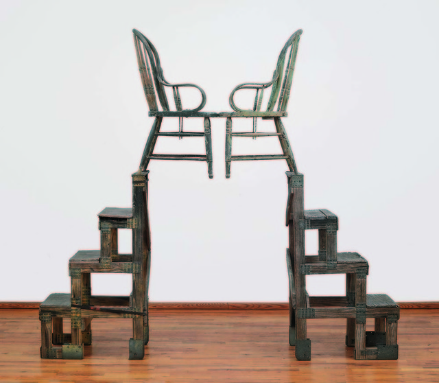 Robert Rauschenberg, 'The Ancient Incident (Kabal American Zephyr)', 1981, Wood-and-metal stands with wood chairs, Robert Rauschenberg Foundation