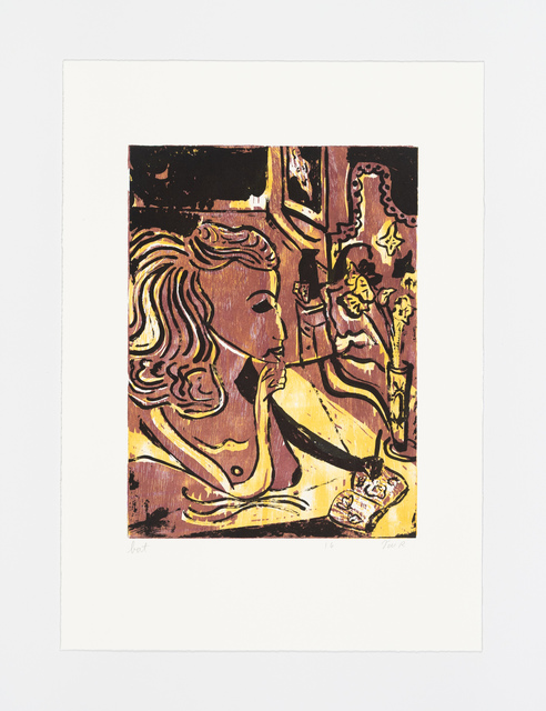 Tal R, 'Girl drawing Lilly from the portfolio Girl drawing Lilly', 2016, Print, Woodcut, sugar lift aquatint, soft ground aquatint, drypoint, BORCH