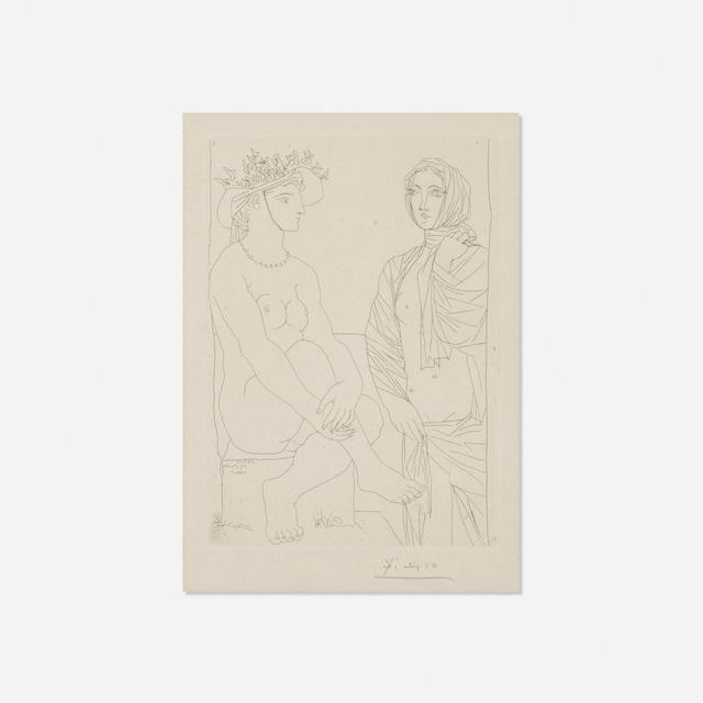 Pablo Picasso, 'Femme assise au Chapeau et Femme debout drapee from La Suite Vollard', 1934, Rago/Wright