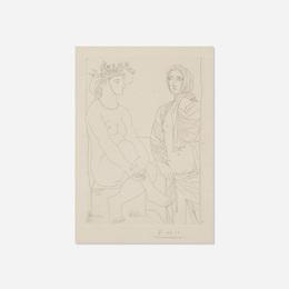 Femme assise au Chapeau et Femme debout drapee from La Suite Vollard