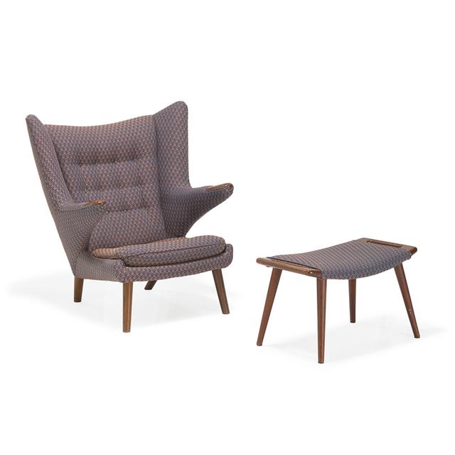 Hans Jørgensen Wegner, 'Papa Bear chair and ottoman, Denmark', Design/Decorative Art, Teak, upholstery, Rago/Wright