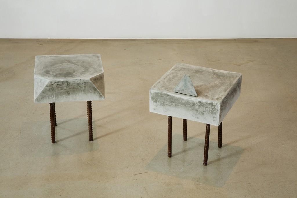 Chaelin Kim, Stool, cement steel, 35cm x 35cm x 40cm, 25cm x 35cm x 50cm, 2014