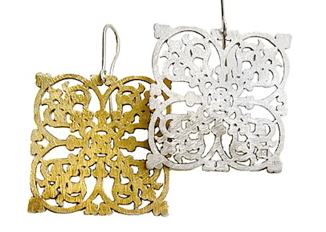 Jewelery collection by Galerie Sandhofer, 'Large Square Earrings In Gold-Plated Sterling Silver With Ornaments', 2017, Galerie Sandhofer