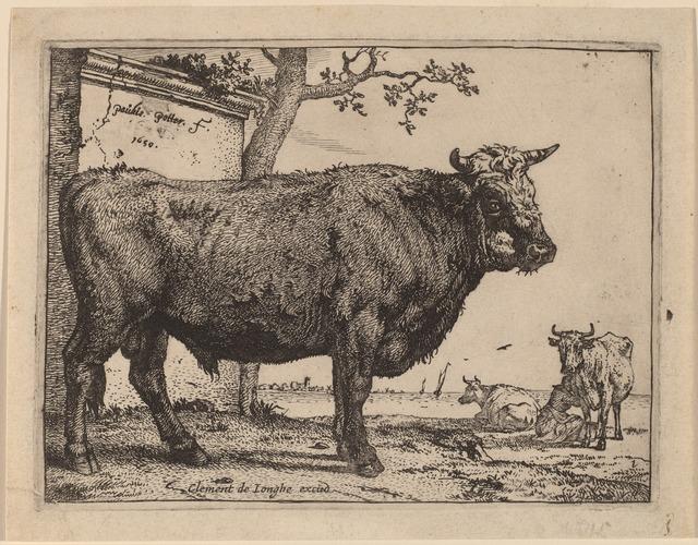 Paulus Potter, 'Bull', 1650, Print, Etching, National Gallery of Art, Washington, D.C.