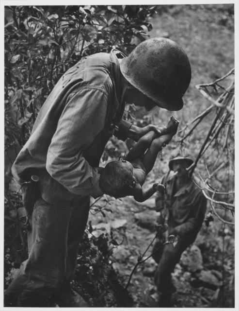 , 'Wounded, Dying Infant Found by American Soldier in the Saipan Mountains, June, 1944,' 1944, Etherton Gallery