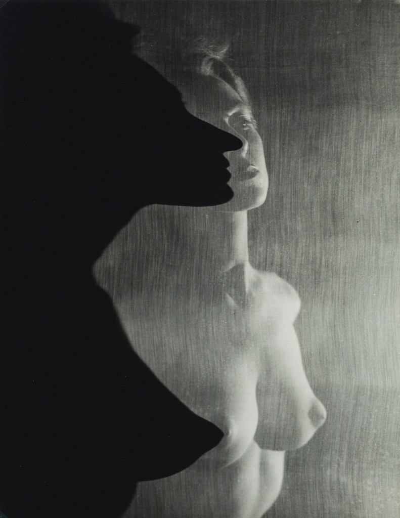 erwin blumenfeld | shadow profile behind veil (female nude) (1942