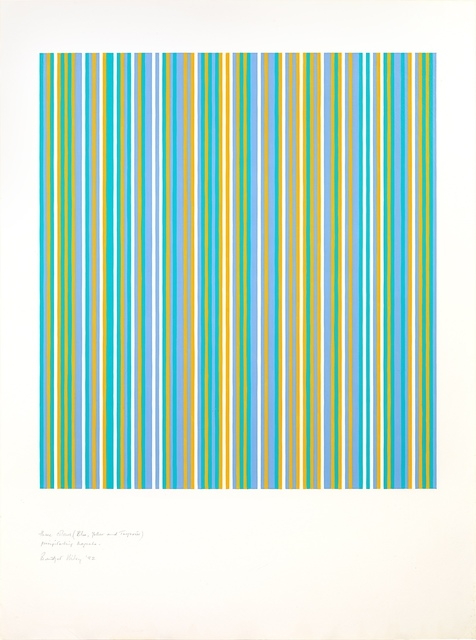 Bridget Riley, 'Three colours (Blue, Yellow and Turquoise) Precipitating Magenta ', 1982, Painting, Gouache on paper, Tanya Baxter Contemporary