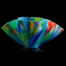 "Large filet-de-verre vessel, ""Wild Spring Chaos"""