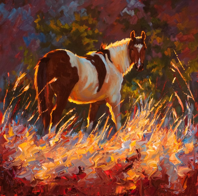 ", '""Paint"" Painterly Depiction of a brown and white Horse in Tall Grass, Dramatic Summer Light,' 2010-2017, Eisenhauer Gallery"