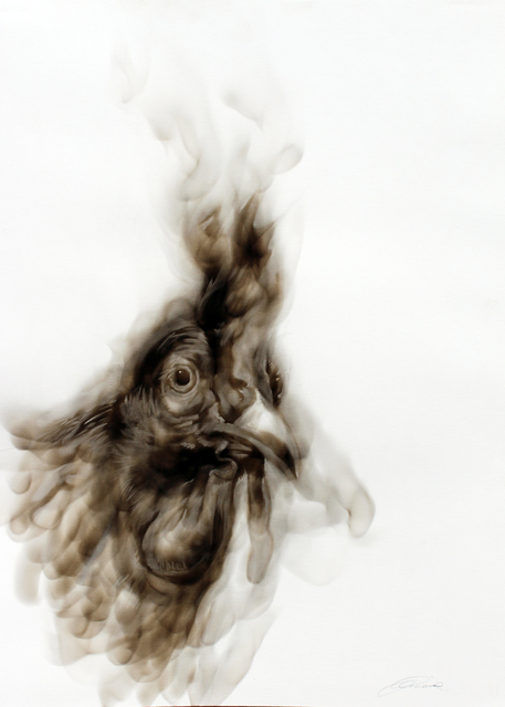 Diane Victor, ''and some are more equal than others' - the Rooster', 2020, Drawing, Collage or other Work on Paper, Smoke drawing, Atelier Le Grand Village