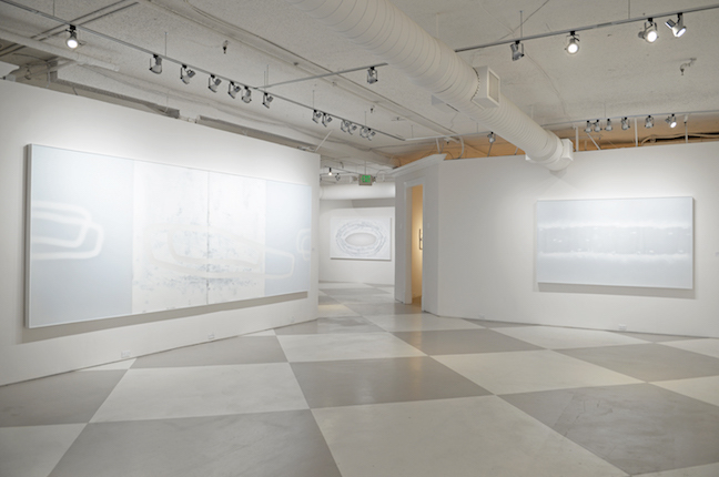 "Main salon installation featuring  ""Carriage"" (left) and ""Runs Like Water"" (right)"
