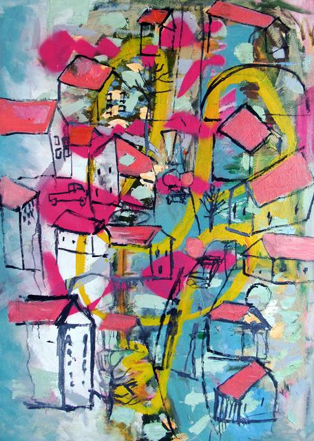 Carl Dimitri, 'Red Rocket Behind House Hill', 2020, Tabla Rasa Gallery