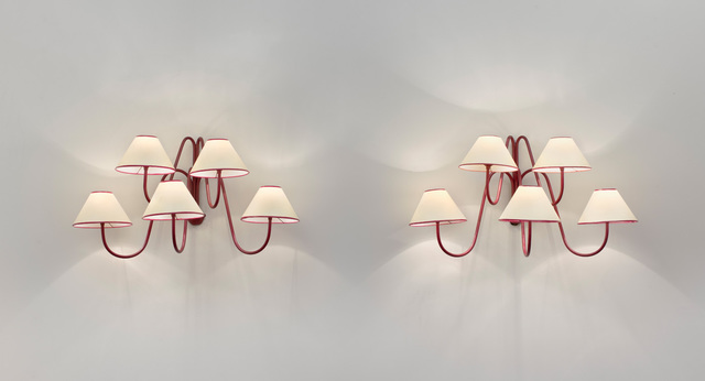 ", 'Pair of  5 arm ""bouquet"" wall lights,' ca. 1950, Galerie Jacques Lacoste"