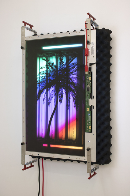 Tabor Robak, 'Grow Light', 2019, Mixed Media, Transparent led monitor, cannabis grow light, led light bars, digital media player, SD card, sound isolating foam, aluminum brackets, powder coated handles, wood, various hardware and cables, Halsey McKay Gallery
