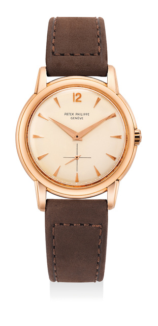 Patek Philippe, 'A fine and attractive pink gold wristwatch with stepped downturned lugs', 1956, Phillips