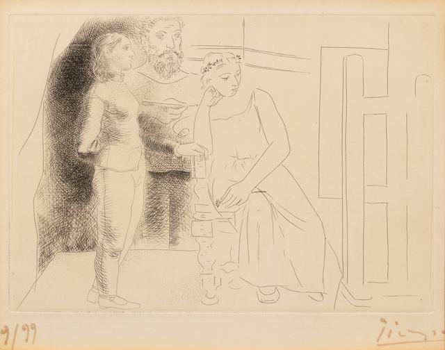 Pablo Picasso, 'Peintre entre deux modèles from Le Chef-d'œuvre inconnu', 1927, Hindman