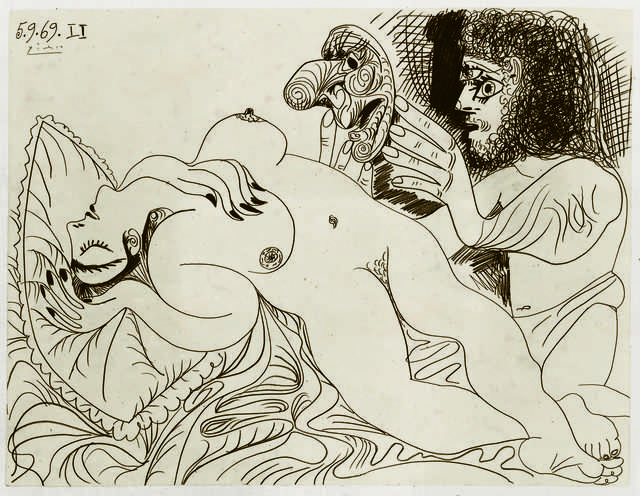 Line Art By Picasso : Pablo picasso nu couché et homme au masque reclining nude and