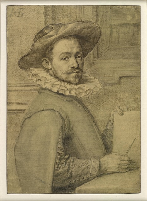 , 'Self-portrait holding a copper-plate,' c. 1589, British Museum