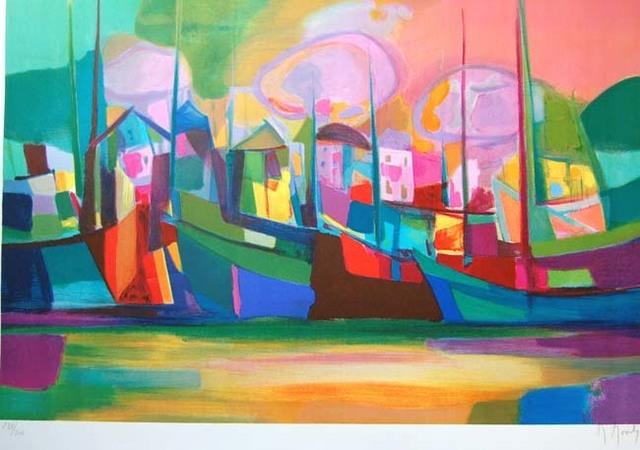 Marcel Mouly, 'Soleil Couchant Sur Le Port', 2002, Print, Lithograph on Wove Paper, Baterbys