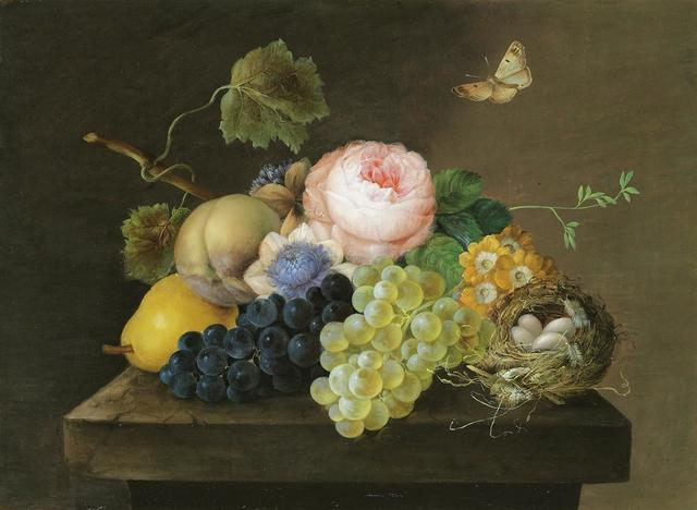 Franz Xaver Petter, 'Still life with grapes, pears, flowers and a bird's nest', ca. 1820, Galerie Kovacek