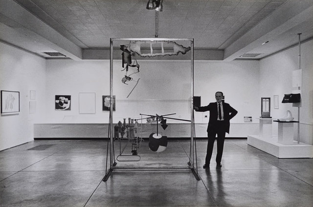 , 'Marcel Duchamp standing with The Large Glass, Duchamp Retrospective, Pasadena Art Museum,,' 1963, Robert Berman Gallery