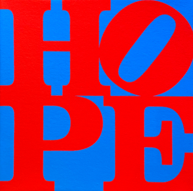 Robert Indiana, 'HOPE (red, blue)', 2015, Painting, Acrylic and silkscreen on canvas, Woodward Gallery