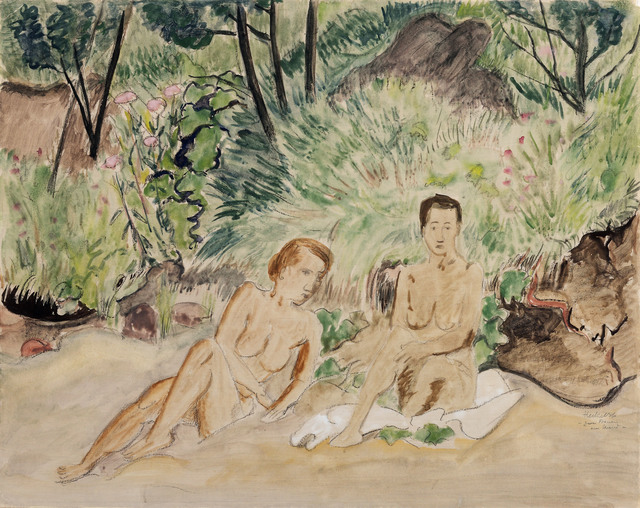 Erich Heckel, 'Two Reclining Nudes in a Landscape (Zwei badende)', 1926, Jill Newhouse Gallery